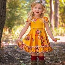 цены 1-5T Toddler Kid Baby Girls Flower Dress Elegant Boho Beach Summer Short Sleeve Floral Dress Cotton Party Pageant Princess Dress