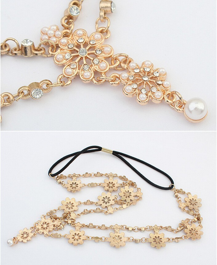 2018 Pearl Tassel Flower Stretch Headband Hair Band Wedding Accessories Crystal Bridal Hair Accessories Head Chain Hair Jewelry 3