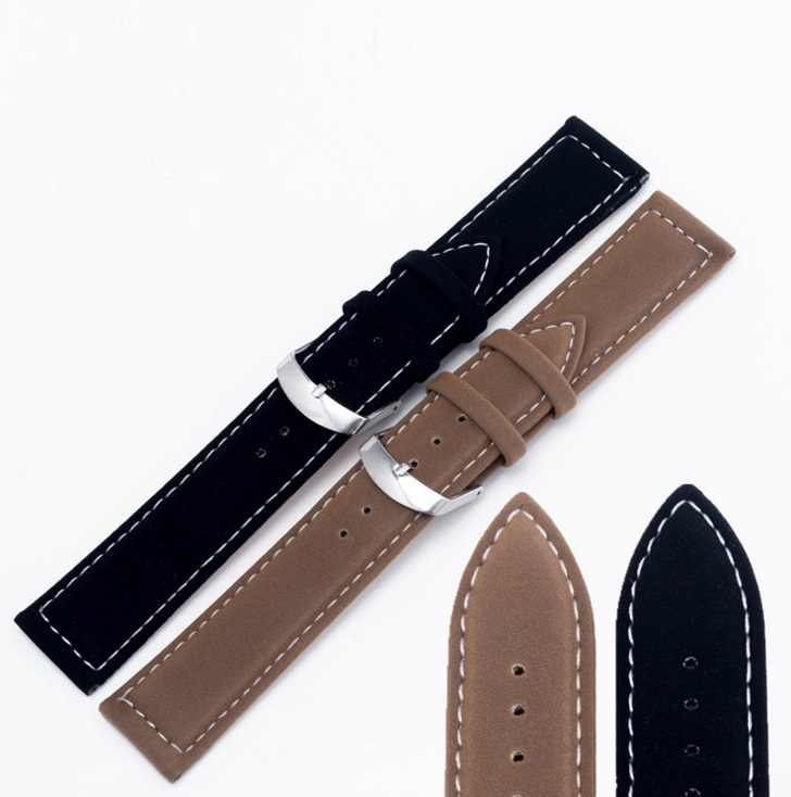 18 22mm Hot New Wholesale Men Women Genuine Suede Leather Black White Stitches Watchband Strap Belt Silver Polished Pin Buckle