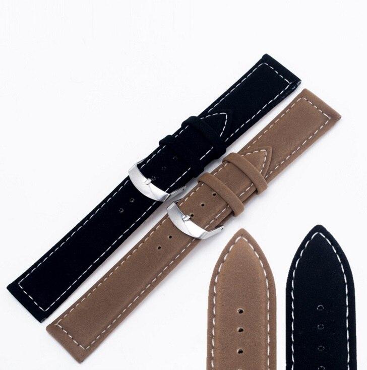 18 22mm Heiße Neue Großhandel Männer Frauen-echtes Wildleder Schwarz Weiß Stiche Armband Armband Gürtel Silber Poliert Pin schnalle