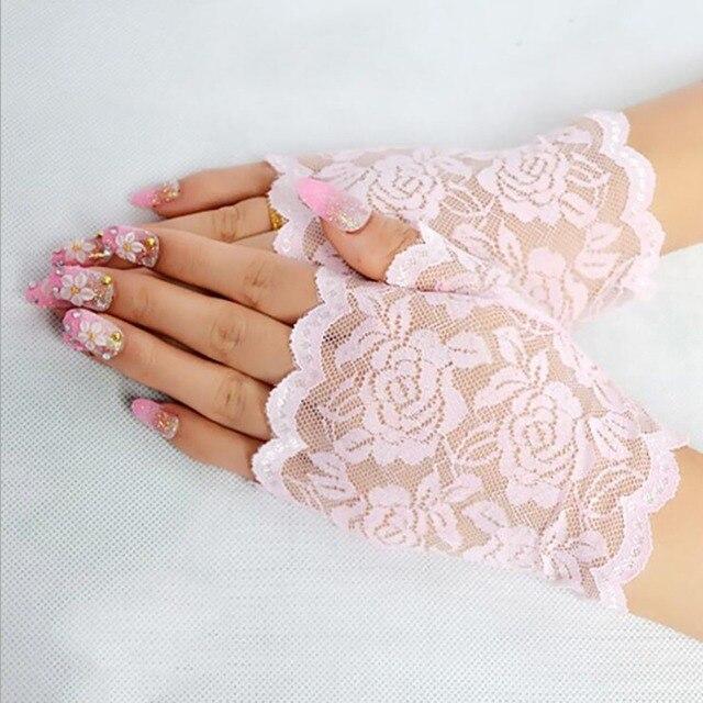 Best Sale Sailor Dance Long Fingerless Womens Sexy Lace Gloves Ladies Half Finger Fishnet Gloves Heated Mesh Mitten Handschoenen 5