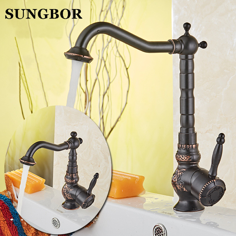 Black Basin Faucets Brass Oil Rubbed Bronze Bathroom Faucet Deck Mount Vanity Vessel Sinks Mixer Tap Cold And Hot Water TapBlack Basin Faucets Brass Oil Rubbed Bronze Bathroom Faucet Deck Mount Vanity Vessel Sinks Mixer Tap Cold And Hot Water Tap