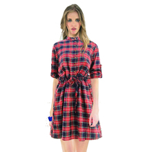 5XL Plus Size Autumn Dress Vintage 2016 Plaid Waist office dress Stand collar Women Clothes Female shirt dress vestido festa