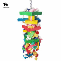New 1Pcs Pet Bird Toy Colorful Cotton Rope Wood Chewing Blocks Parrot Cage Toy Macaw Cockatiels