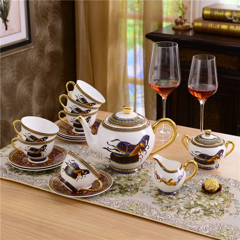Pleasing Us 445 0 Gilded Coffee Cups Sets Bone China 15Pcs Tea Cups Ceramic With Horses Equestrian In Led Table Lamps From Lights Lighting On Pabps2019 Chair Design Images Pabps2019Com