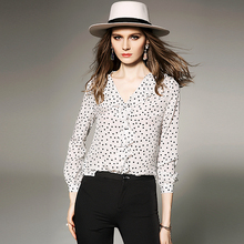цена на 100% Silk Blouse Women Shirt Polka Dot Printed Ruffles V Neck Long Sleeves Office Work Top Elegant Style New Fashion 2018