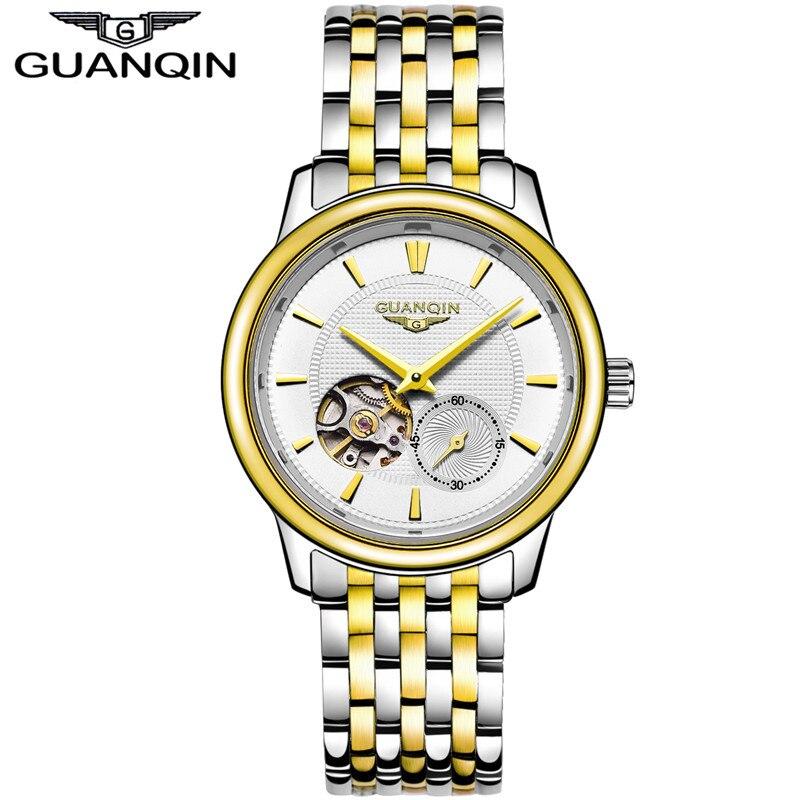 New GUANQIN Mens Watches Top Brand Luxury, Luxury Watch Men Famous Brand Mechanical Watch, Waterproof Steel Gold Men Clock