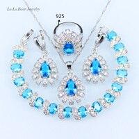 L B Classic Australia Blue Opal White Zircon 925 Sterling Silver Jewelry Sets For Women Bracelet