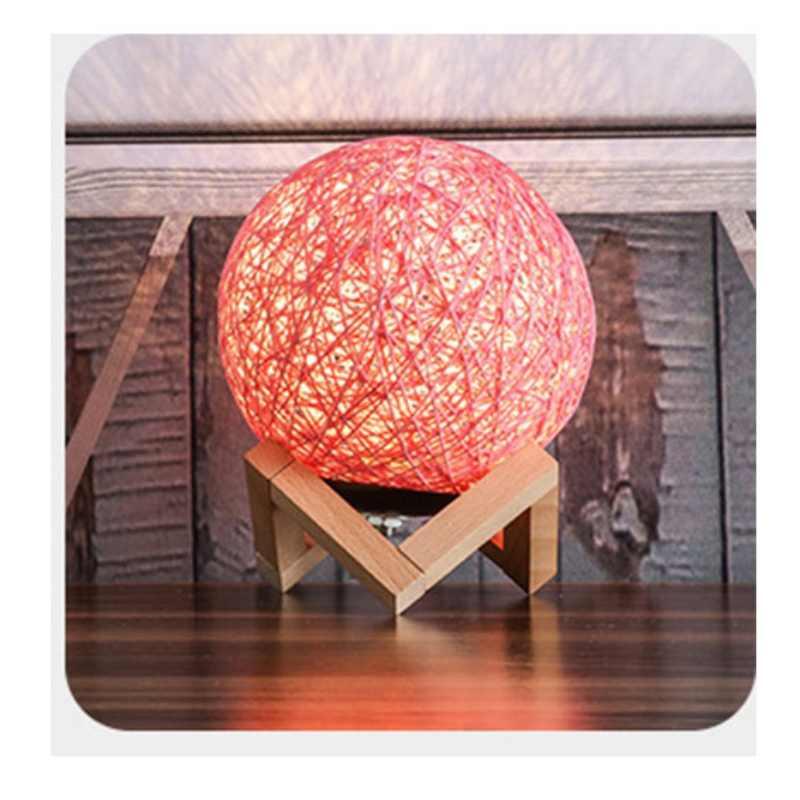 3D LED Malam Lampu Rotan Moon Moonlight Romance Meja Bulan Lampu dengan Berdiri Meja Warna-warni Lampu Pesta Rumah Dekorasi Aksesoris