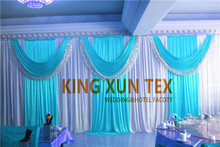 White And Turquoise Color Wedding Backdrop Drape With Backdrop Pipe Stand