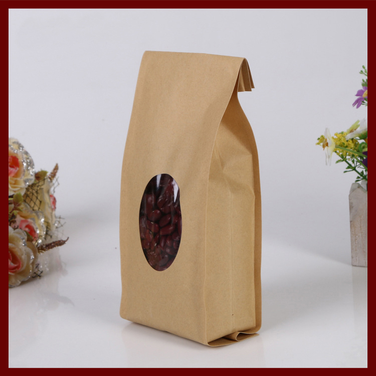 10*24+6cm 30pcs kraft paper Organ Window bag for gift/tea/candy/jewelry/bread Packaging Paper food bag diy Jewelry Pack Display