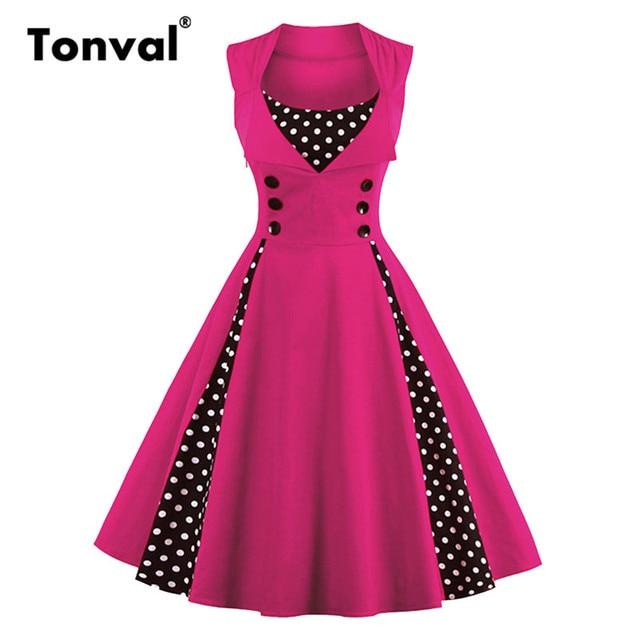 Tonval Rose Red Elegant Polka Dot Sleeveless Vintage Dress Women Button  Tunic Summer Dresses Plus Size 4XL 5XL Party Dress b1b0716594e3