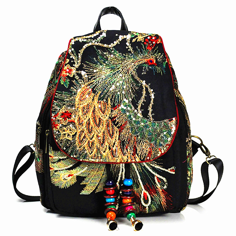2018 New Vintage Women's Backpack Embroidery Peacock Sequin Rucksack National Boho Beads Travel School Shoulder Bag Female Girl
