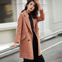 0eb60d5cb5c8 Wool Coat Women 90% Wool Plaid Classical Design Drop-shoulder Sleeves 2  Colors High