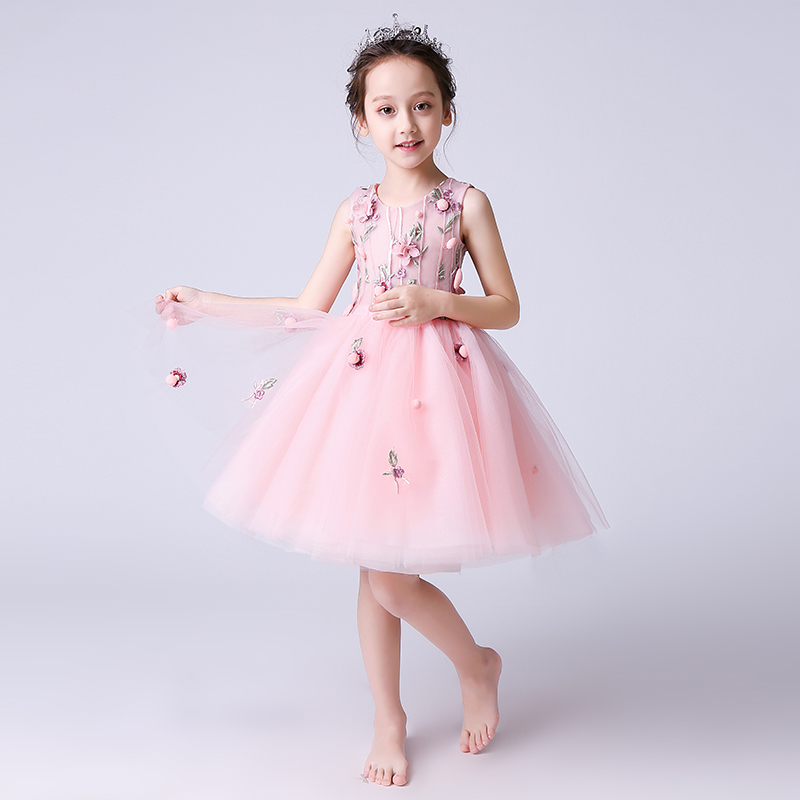 Princess Prom Dress Embroidery Flower Girl Dresses Wedding Ball Gown Kids Pageant Dress Knee-length Girls Birthday Evening Gowns red full length wedding dress elegant evening gowns chinese women embroidery flower qipao sexy cheongsam bride toast clothing