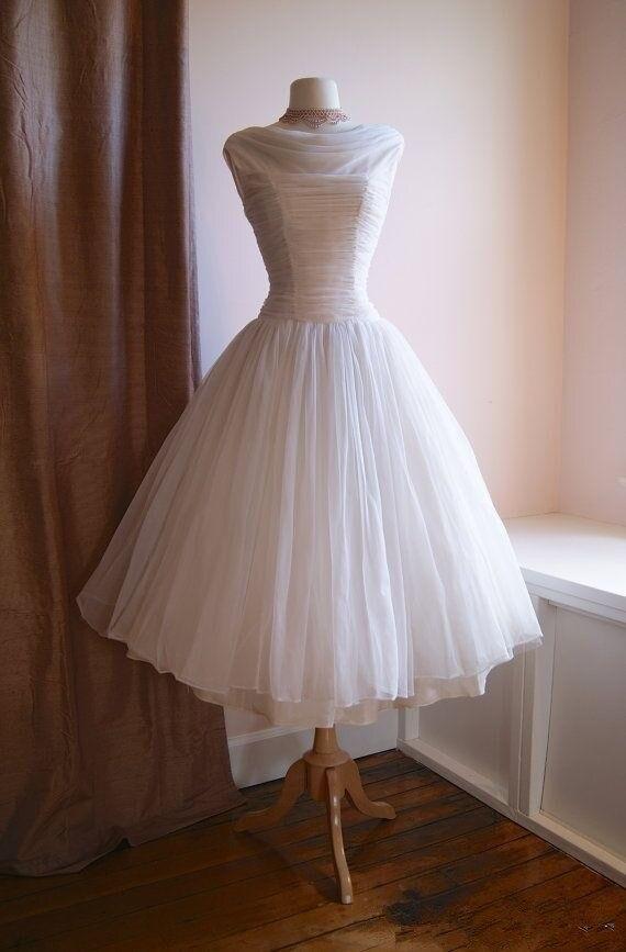Vintage 1950 S Tea Length Wedding Dresses Cowl Neck Pleats Chiffon