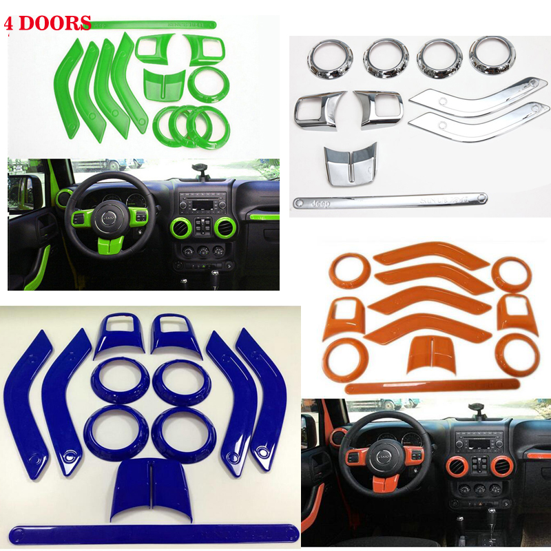a set 4doors Steering Wheel Trim Air Condition Vent Interior Accessories Door Handle Cover Kits ABS Chrome For Jeep Wrangler JK