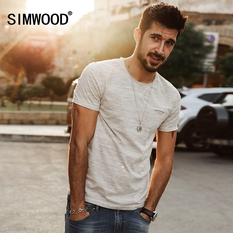 SIMWOOD 2018 New Spring Summer T shirts Men Fashion curling short - sleeved Slim stretch Vintage Tees TD1129