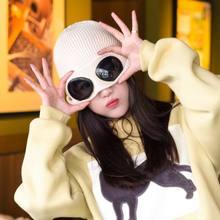Nuovo Novità A Duplice Uso Cappelli Femminile Occhiali Beanie di Inverno del Cappello delle Donne Per Gli Uomini Unisex Autunno Inverno Lavorato A Maglia Berretti Cofano berretto da sci