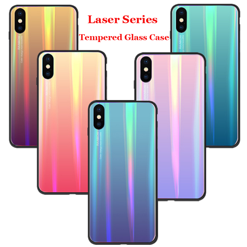 50pcs lot For iPhone XS Max XR Laser Series Glass Case Explosion Proof Gradient Tempered Glass