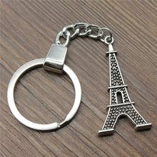 New Vintage Keychain Antique Silver Color 41x20mm Eiffel Tower Pendant Key Chain Ring Holder Dropshipping