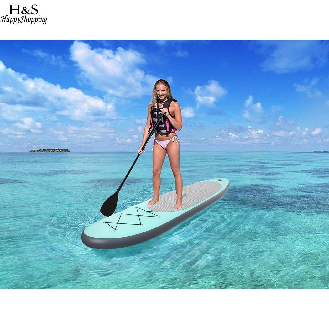 c4b9eb71a 305x76x15 cm PVC 10ft Inflável Stand Up Paddle Board SUP com Bomba de Mão  Pá Ajustável Mochila