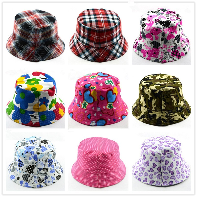Bnaturalwell Kids Summer Hat Bucket Style Printing Sun Hat