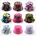 Retail Kids Summer Hat Bucket Style Printing Sun Hat Accessories For Girls Boys Children Bucket Cap Panama Reversible 1pc H391