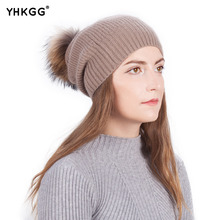 Фотография HKGG 2017Fashion Women Winter Wool Knitted Hat Real Natural Fox Fur Pompom Beanies Female Cap  Solid Colors Gorros Hats
