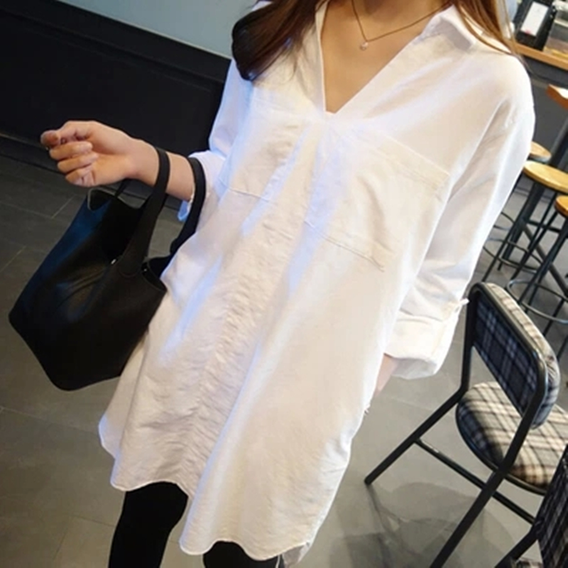 e100f00c0e9 2017Boyfriend Style Women V neck cotton Blouse Shirt Long Sleeve medium long  White Shirts loose Casual ladies tops