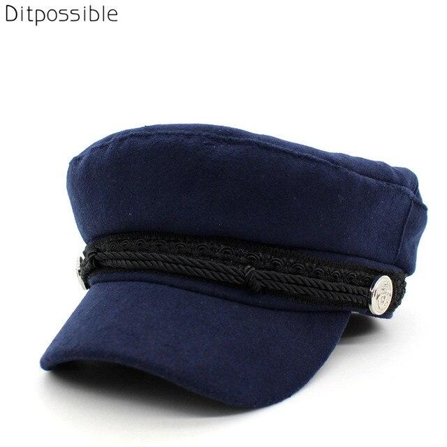 Ditpossible algodón lana sombreros militares para las mujeres moda femenina  plana gorras militares gorras sombrero b64e6fab08c