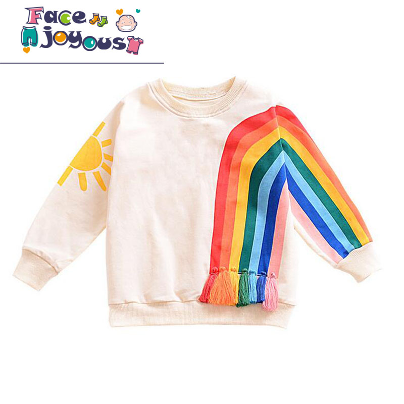 Girls Long Sleeve T-shirts Toddler Boys Tops Tees Baby Cotton Clothes Sweatshirts Rainbow Striped T-shirts Kids Casual Clothing pudcoco baby girls kids casual long sleeve hoodies clothes rainbow striped o neck pullover sweatshirt tops