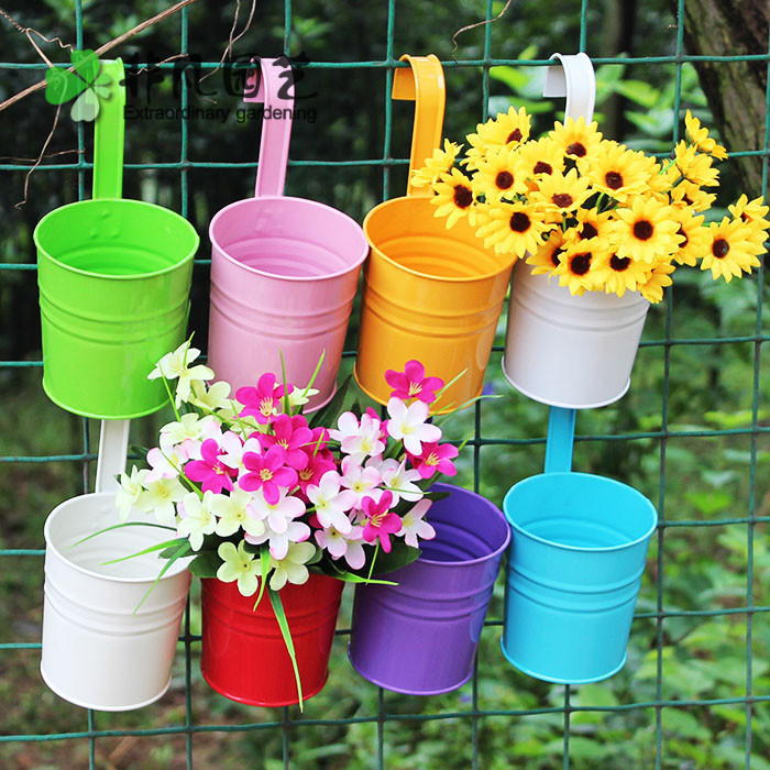 Superior Hanging Plant Pots Online Part - 14: Large Size Wall Planting Pots Garden Decoration Supplies IronBalcony Pots  Planters Wall Hanging Metal Bucket Flower