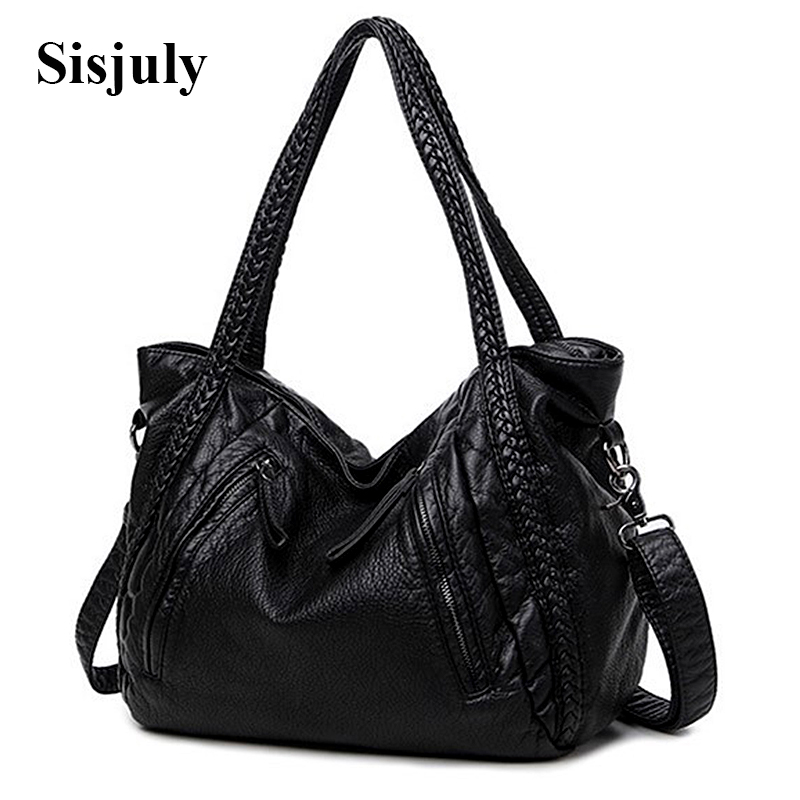 Sisjuly High Quality Soft PU Leather Top-handle Bag Fashion Women messenger Bag Larger Shoulder Bag Waterproof Women Bag 2017 sisjuly black 11
