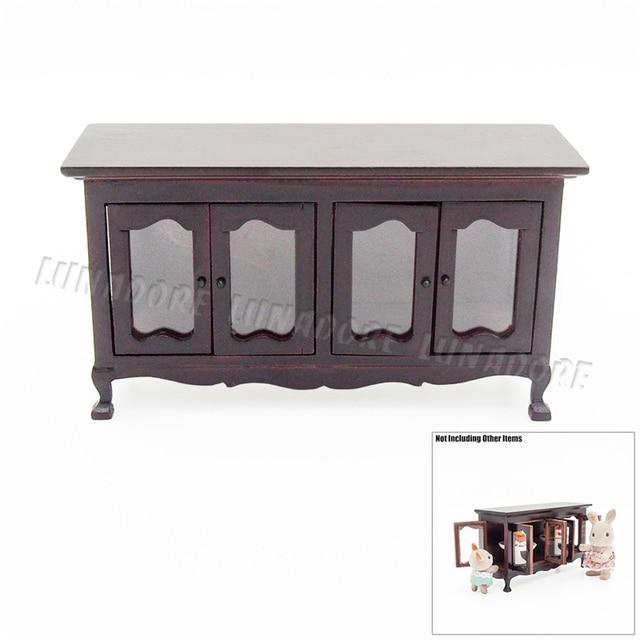 Wunderbar Odoria 1:12 Miniatur Vintage Holz Buffet Cabinet Sideboard Puppenhaus Möbel  Zubehör Für Wohnzimmer Küche