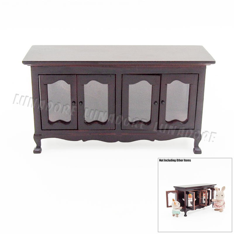 Odoria 1 12 Miniature Vintage Wood Buffet Sideboard Cabinet Dollhouse Furniture Accessories For