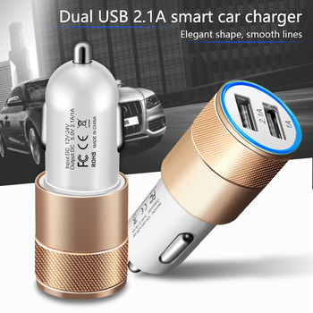 Essien Luxury Car Charger 2.1A Dual USB Mini Aviation Alloy Mobile Phone Charger Adapter For Xiaomi Samsung Tablets Car-Charger