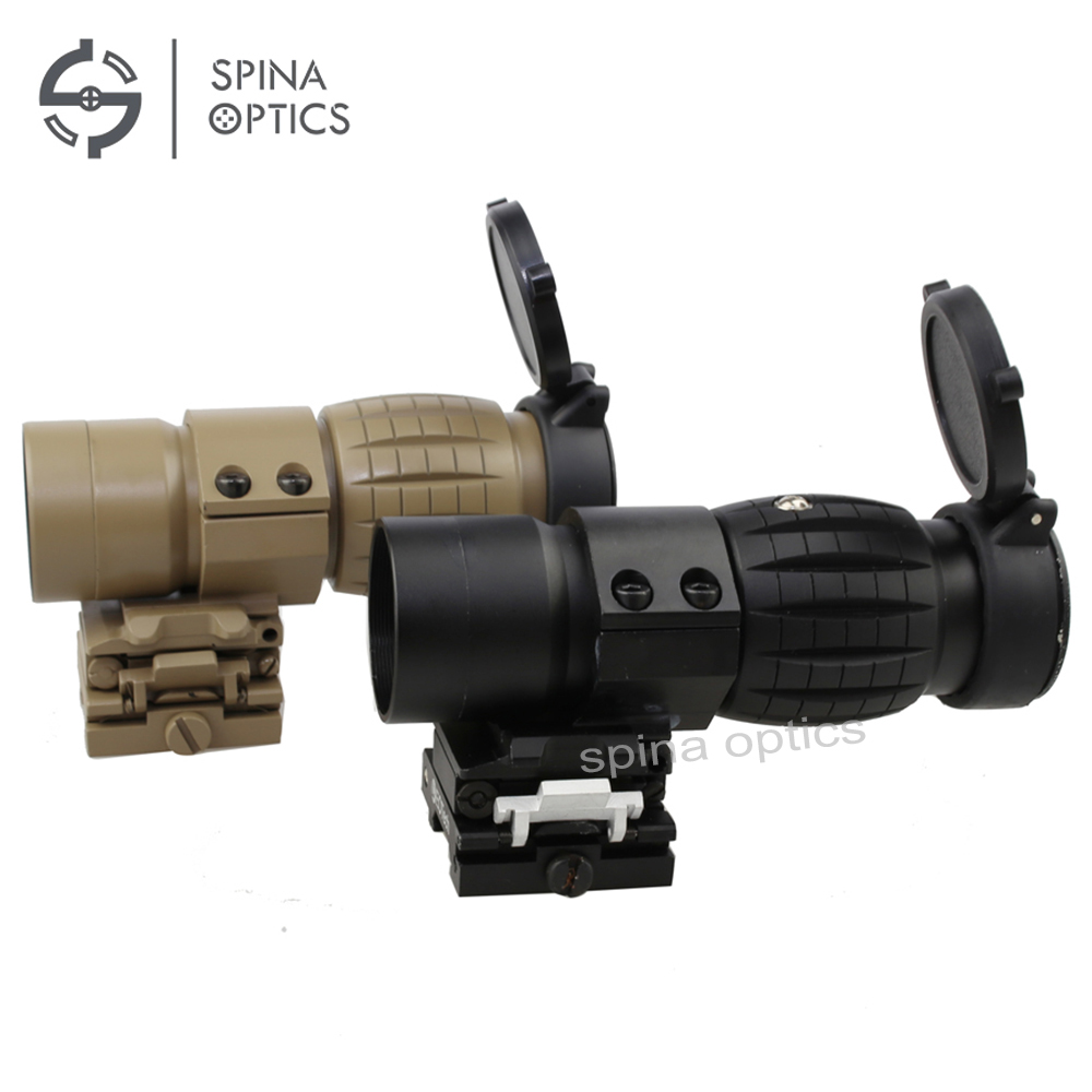 SPINA OPTICS Red Dot Sight Scope 3X Magnifier with Flip To Side Picatinny Rail Mount Hunting vector optics tactical adjustable 4x magnifier fit for red dot holo sight with flip to side picatinny mount shooting accessories