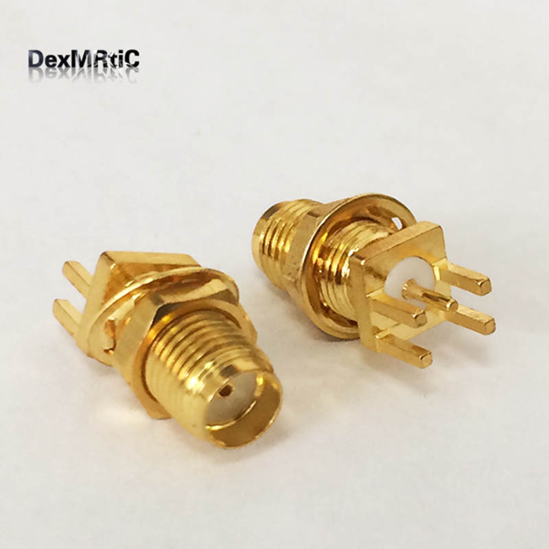 1pc SMA Connector SMA Female Jack nut  RF Coax Connector end launch PCB Mount Cable  Straight  Goldplated  NEW  wholesale f type female jack to sma male plug straight rf coax adapter f connector to sma convertor