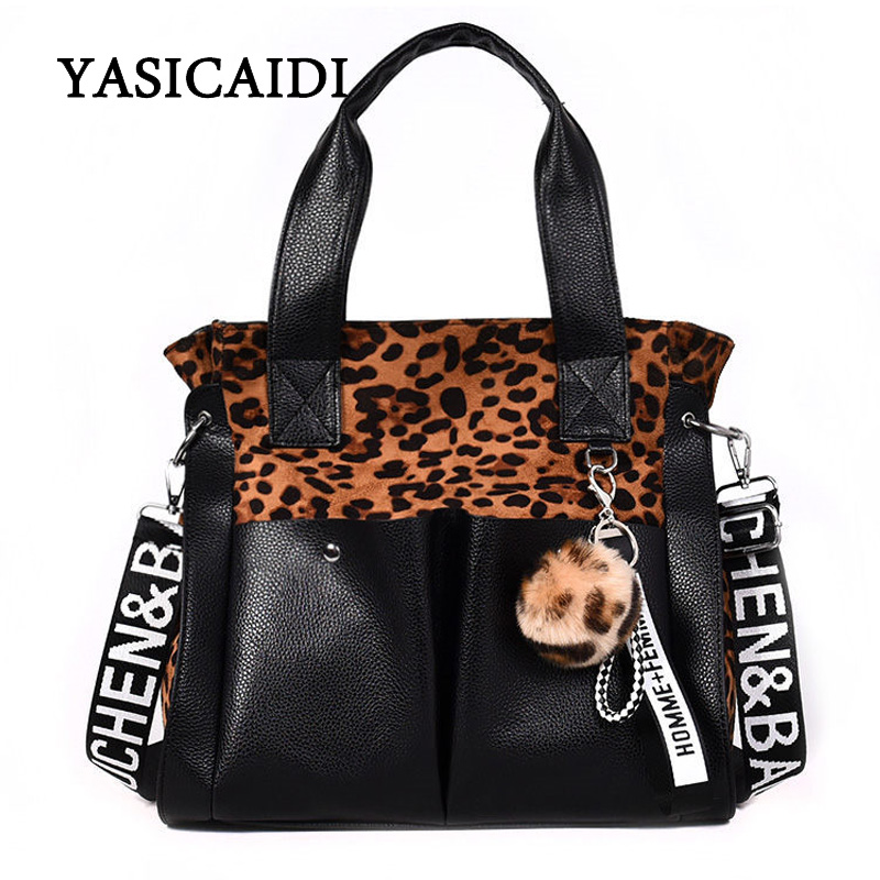 YASIACIDI Women Shoulder Bags Fur Ball Fashion PU Leather Letter Bag Famous Brand Leopard Women Tote Bag Tassel Female Handbag