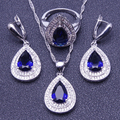 New Drop Blue Created Sapphire White Topaz 925 Sterling Silver Jewelry Sets For Women Earrings/Pendant/Necklace/Rings Free Box
