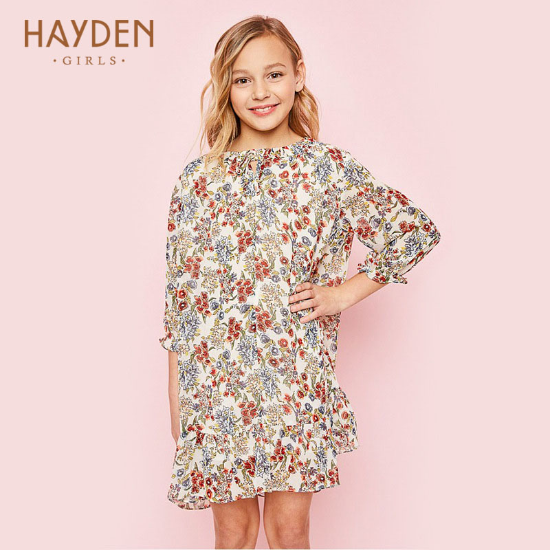 HAYDEN flower girls dresses 2017 summer ivory BLACK children costumes party frocks teenage girls clothing 7 9 11 13 girl clothes купить