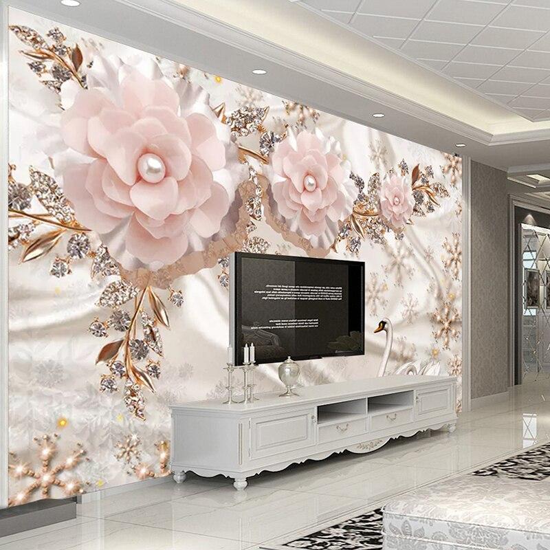 Personalizado foto papel de parede 3d luxo estilo europeu cisne jóias flores sala tv fundo decoração mural
