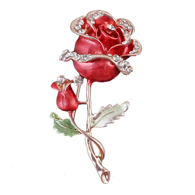 Dripping Oil Women Rose Brooches Rhinestone Red Blue Flower Bouquets ...