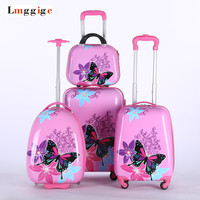 Kids Rolling Luggage Bag Suitcase Trolley with Cosmetic Case ,women Lovely cartoon travel Box, children Gift
