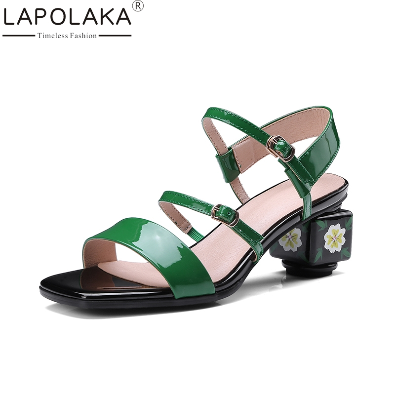 LAPOLAKA Plus Size 34-43 Cow Genuine Leather High Heel Woman Shoes Appliques Leisure Women Shoes Summer Sandals ribetrini summer large size 34 40 cow genuine leather woman shoes mix color leisure flats women shoes sneakers