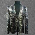 black gray leopard print jacket blazer outerwear for singer dancer performance male dj gd fashion multicolour Camouflage costume