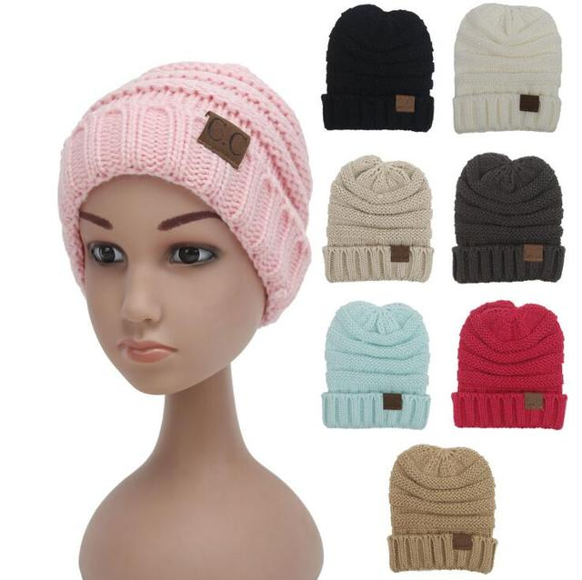 New baby Rushed Special Solid kids Gorro Chucky Stretch Cable Knit Slouch children  cc Beanie Skully Ski Hat 8 colors 038b7a22295
