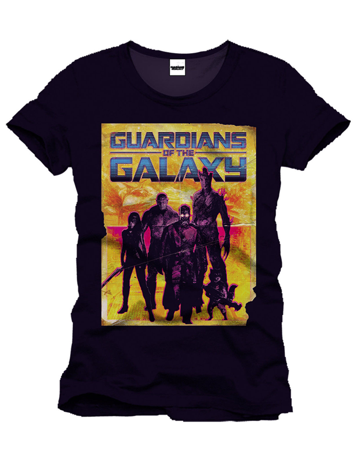 MARVELS GUARDIANS OF THE GALAXY YELLOW SILHOUETTE BLACK Cotton Fashion Men T Shirt