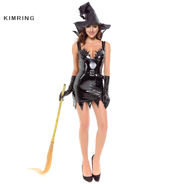 9b71422fba1 US $33.29  Kimring Sexy Black Witch Costume for Women Adult Witch Mini  Dress Cosplay Costumes Masquerade Party Halloween Costumes-in Movie & TV ...